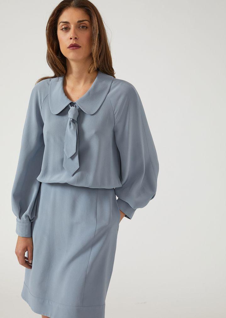93dc4bb1ec1cd Crepe de chine silk dress with tie and Peter Pan collar | Woman | Emporio  Armani