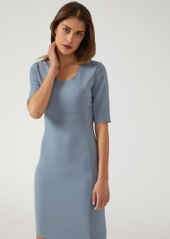 1e17992412 Short sleeved dress in stretch tricotine | Woman | Emporio Armani