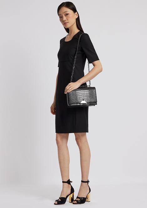 Short-sleeved sheath dress in fresh wool