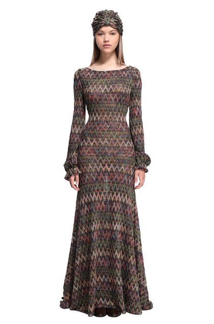 MISSONI Langes Kleid Bordeaux Damen - Rückseite