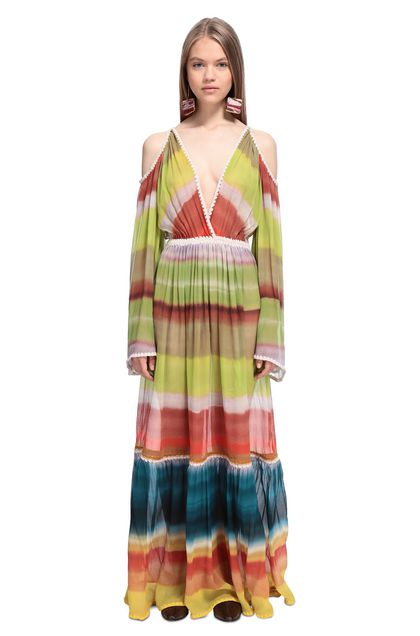 MISSONI Long dress Acid green Woman - Back