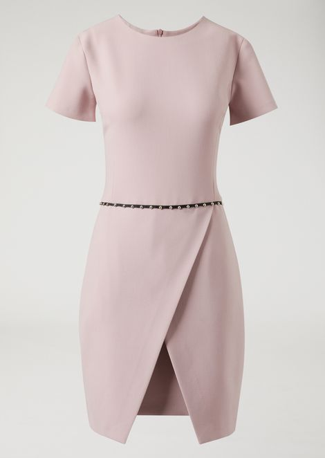 Wrap-around stretch cady dress with stud detail