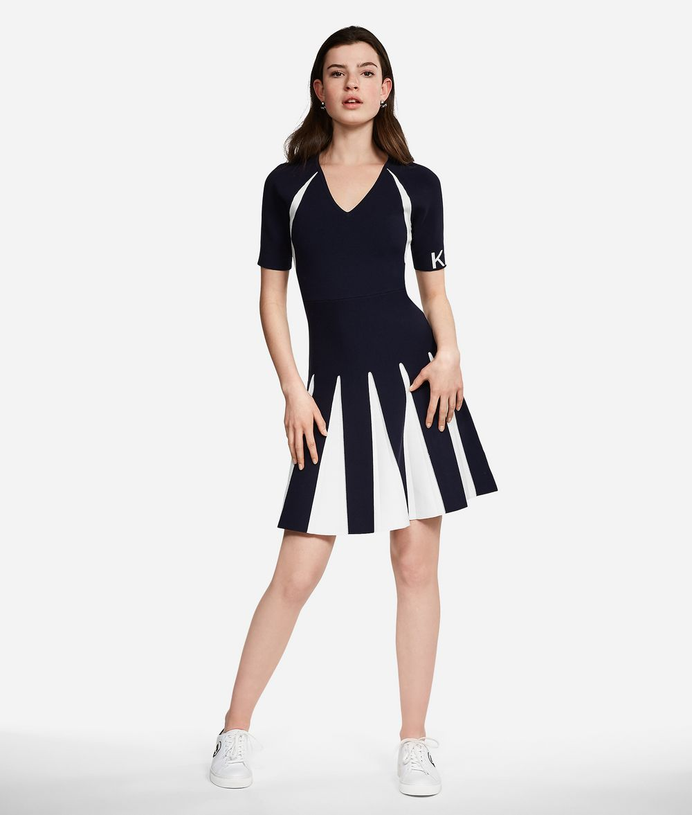 KARL LAGERFELD Contrast Paneled Dress Dress Woman f