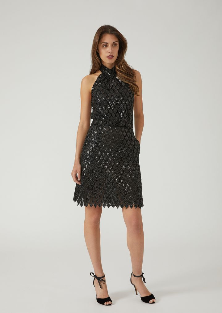 0ac6b447d4 Macramé dress with sequin embroidery | Woman | Emporio Armani