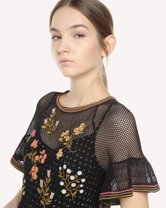 REDValentino 花卉刺绣棉质针织连衣裙