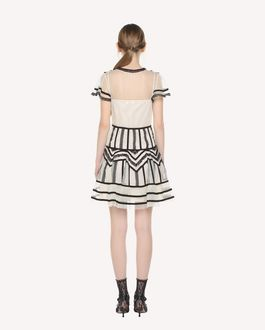REDValentino Tubulars and lace embroidered Tulle dress