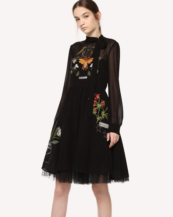 REDValentino Flora and Fauna embroidered Georgette dress