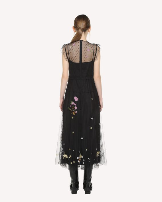 REDValentino Enchanted Reptiles and Birds hand embroidered tulle dress