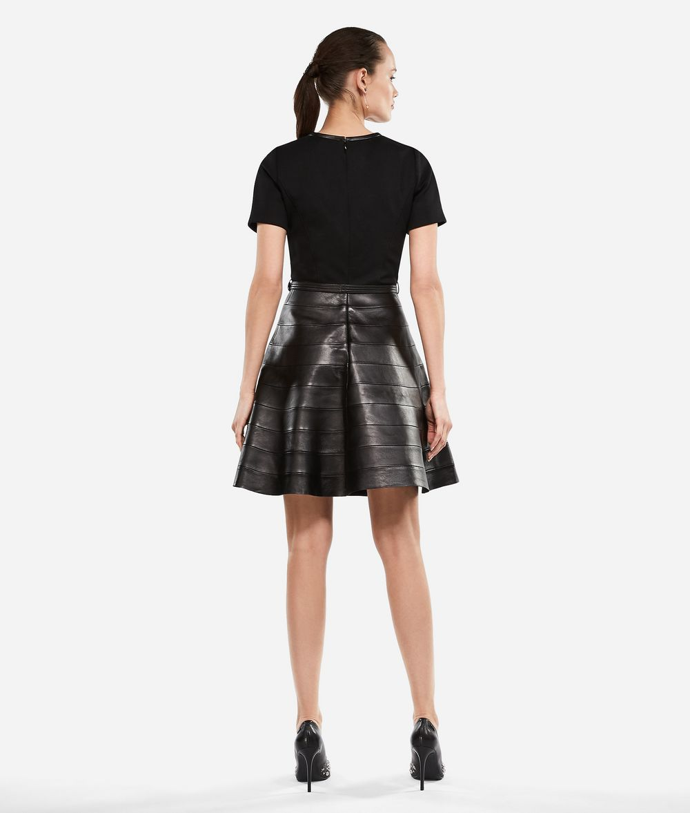 KARL LAGERFELD Leather and Punto Dress Dress Woman d