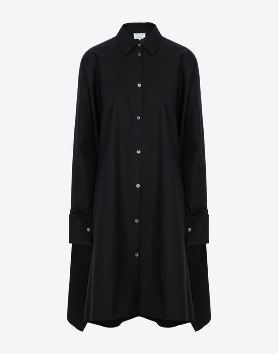 MAISON MARGIELA Black poplin dress 3/4 length dress [*** pickupInStoreShipping_info ***] f