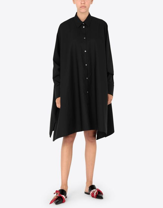 MAISON MARGIELA Black poplin dress 3/4 length dress [*** pickupInStoreShipping_info ***] r