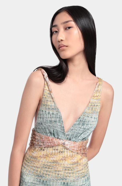 MISSONI Long dress Emerald green Woman - Back