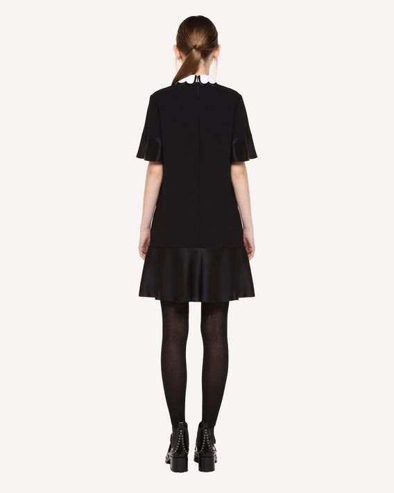 REDValentino Satin-backed crêpe dress with collar detail