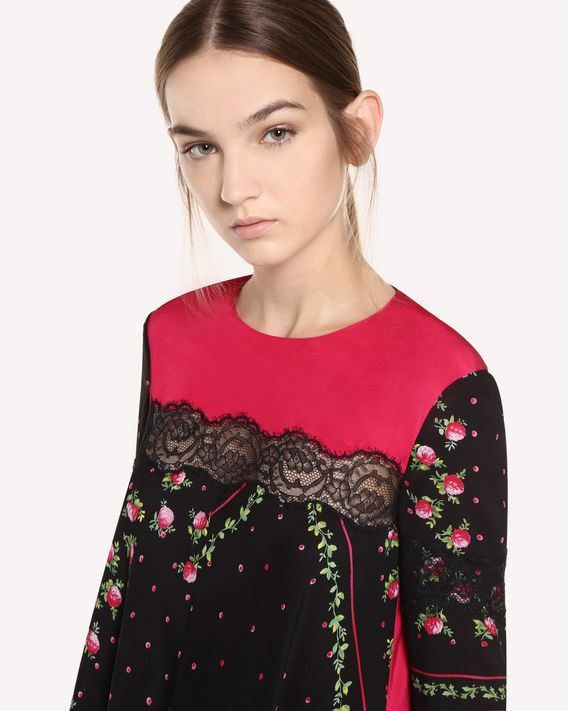 REDValentino Silk dress with Rose Garden Scarf print and lace ribbons