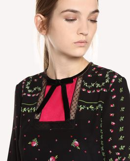 REDValentino Silk dress with Rose Garden Scarf print