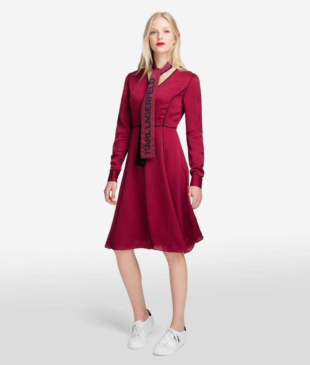 KARL LAGERFELD Seidenkleid mit Logo-Schluppe Kleid Damen f