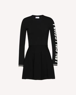 "REDValentino Stretch viscose dress with jacquard ""Forget Me Not"" detail"