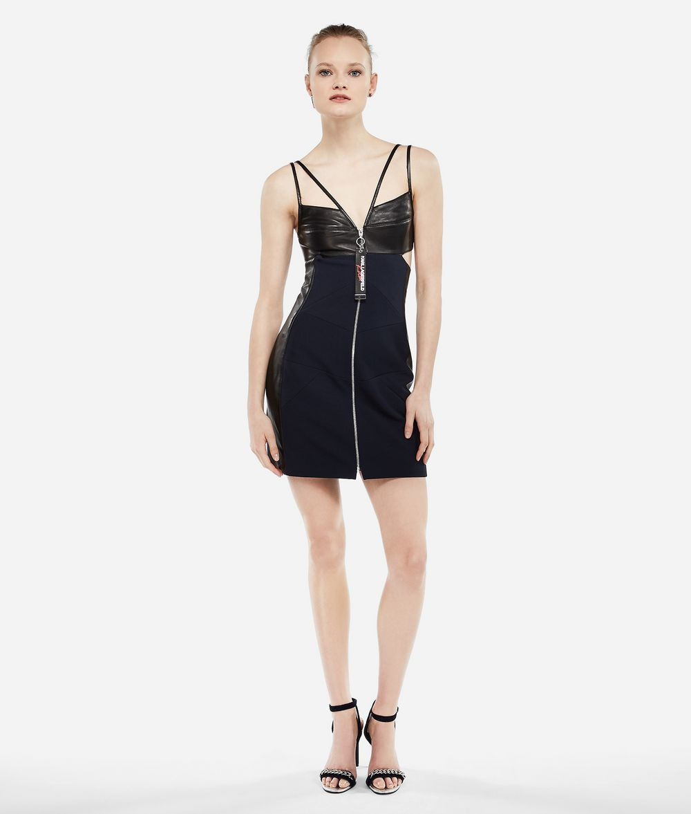 KARL LAGERFELD Karl X Kaia Leather Mix Dress Dress Woman f