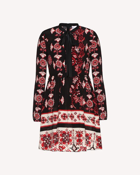 REDValentino Silk dress with Snow Flower Ramage print