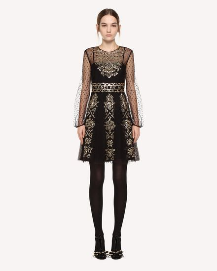 Tulle dress with cross-stitch sequin detailing