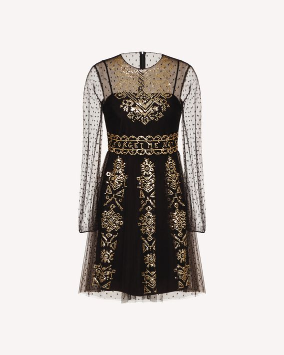 REDValentino Tulle dress with cross-stitch sequin detailing