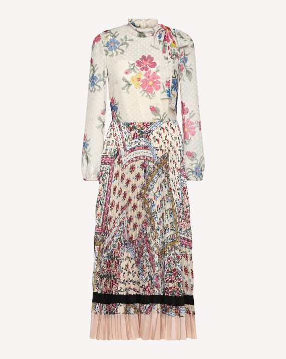 REDValentino Crêpe de Chine dress in a mix of floral prints