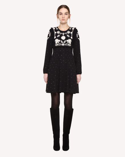 Dress in Crêpe Sablé with Frozen Flowers embroidery