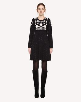 REDValentino Dress in Crêpe Sablé with Frozen Flowers embroidery
