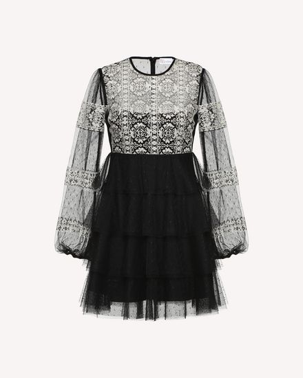 Tulle dress with cross-stitch detailing