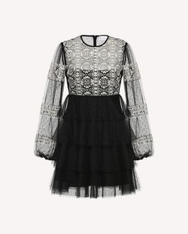 REDValentino Tulle dress with cross-stitch detailing