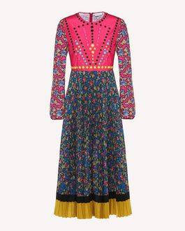 REDValentino Rose Ramage print crêpe de Chine dress with ball detail