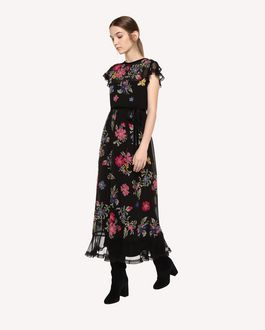 REDValentino Georgette dress with floral cross-stitch detailing