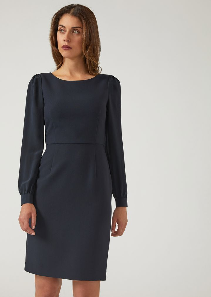 30febc91da Cady dress with long sleeves and a round neck | Woman | Emporio Armani