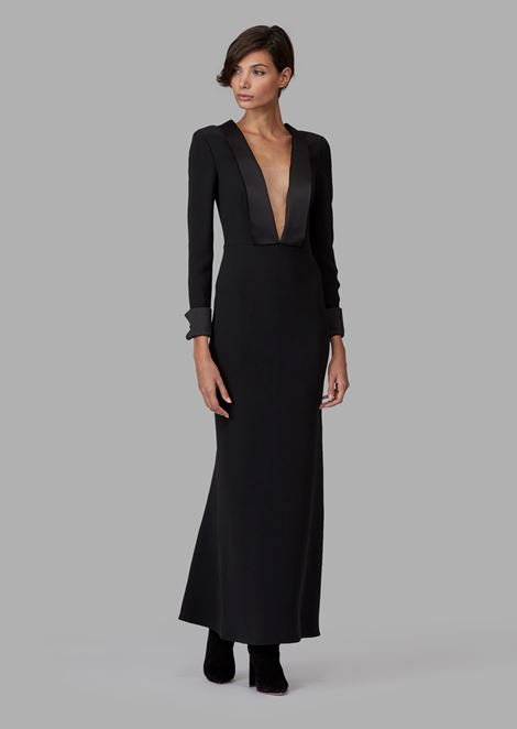Pure silk maxi dress with satin lapel neckline
