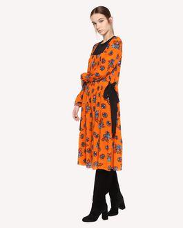 REDValentino Seidenkleid mit aufgedruckten leuchtenden Blumen