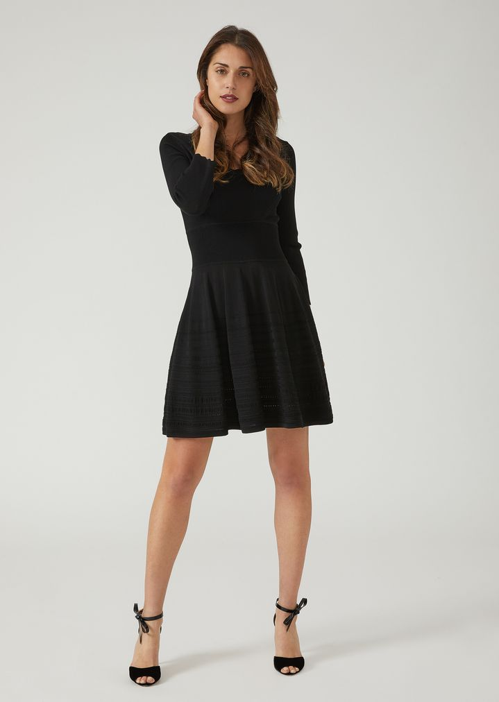 Knit Dress With Wavy Edging And Jacquard Striped Skirt Woman