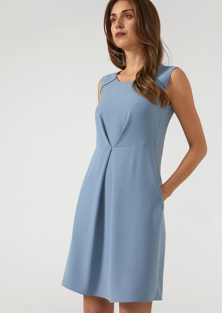 26420a795851a1 Flared sleeveless dress with central front pleat