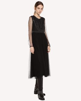 REDValentino Point d'esprit tulle dress with sparkling ball details