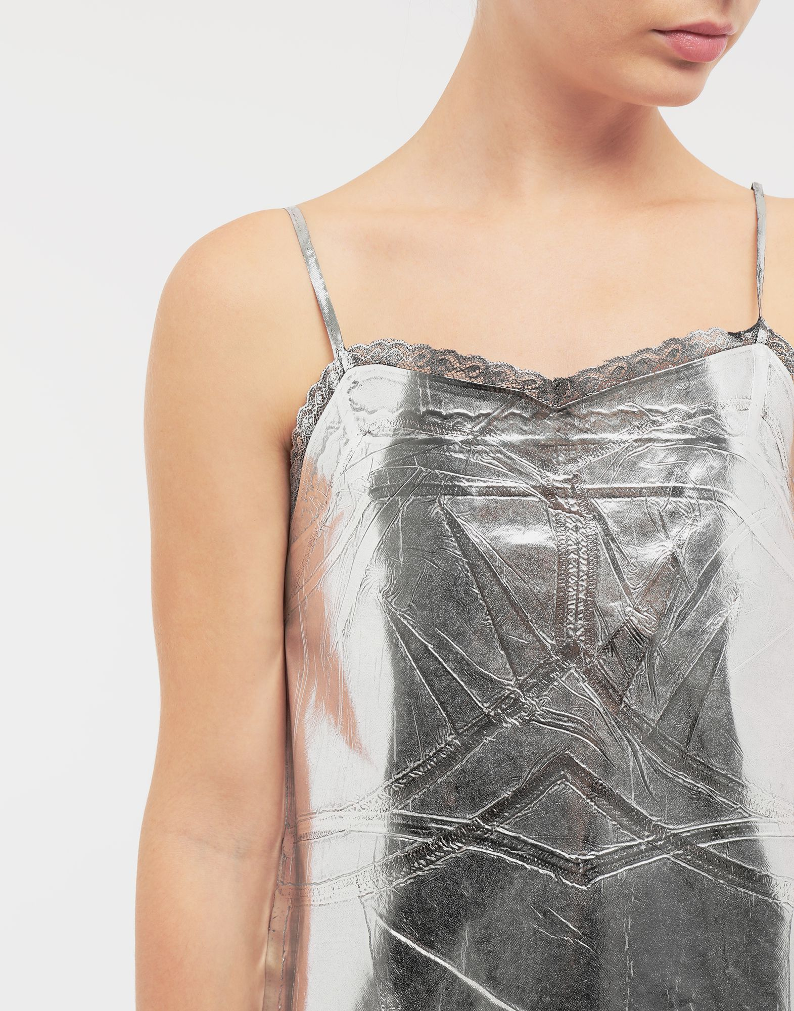 MM6 MAISON MARGIELA Silver midi strapped dress Short dress Woman b