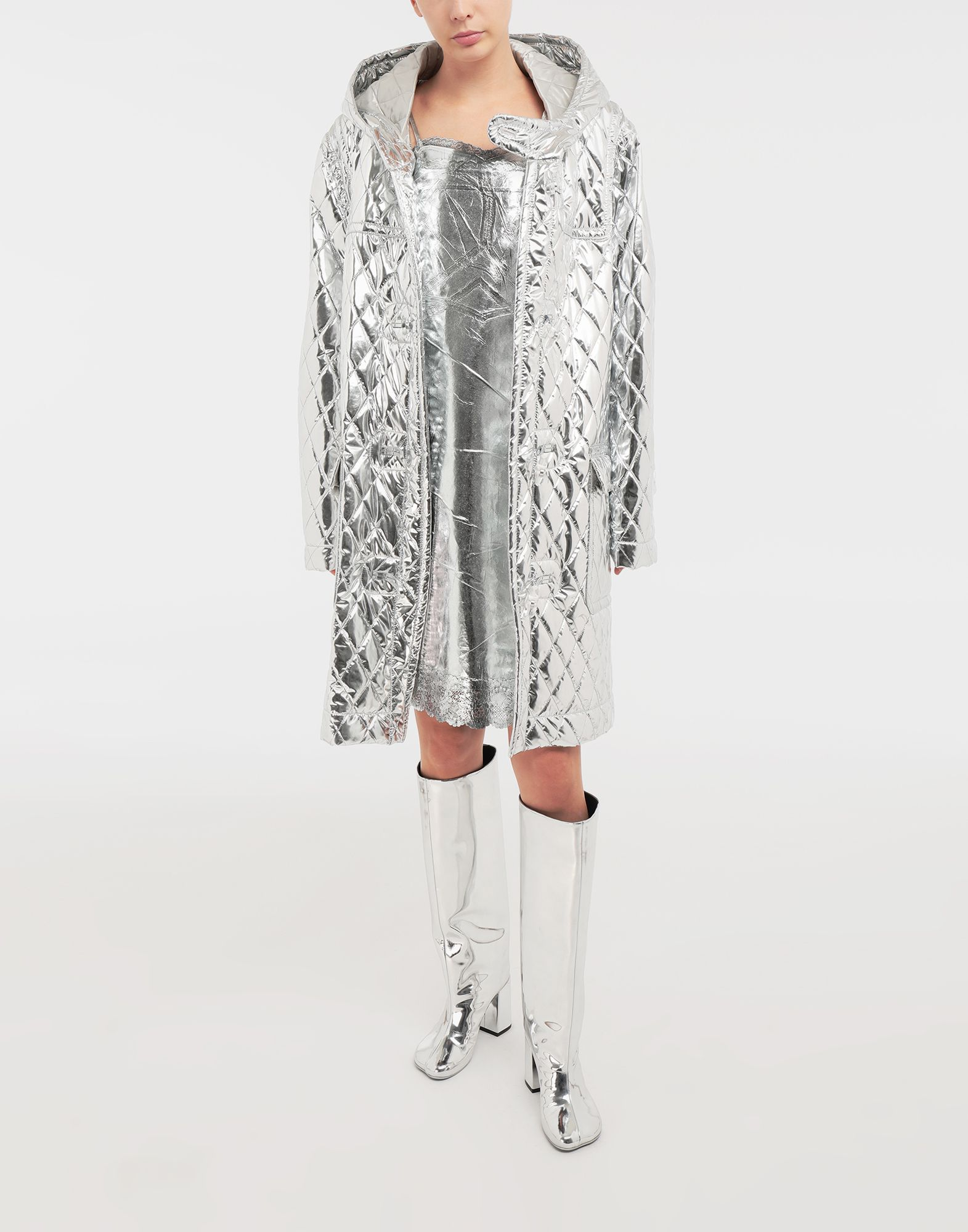 MM6 MAISON MARGIELA Silver midi strapped dress Short dress Woman d