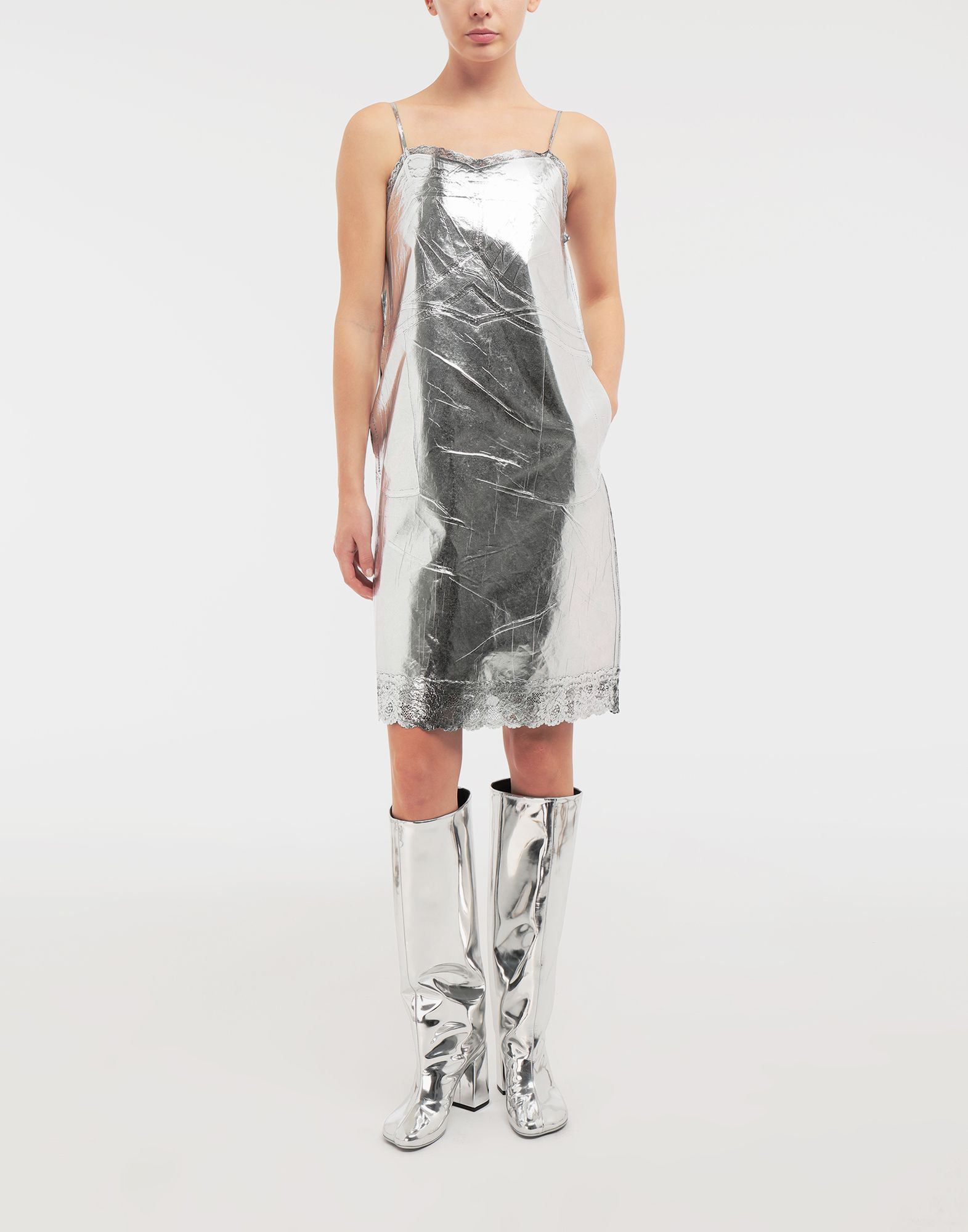MM6 MAISON MARGIELA Silver midi strapped dress Short dress Woman r