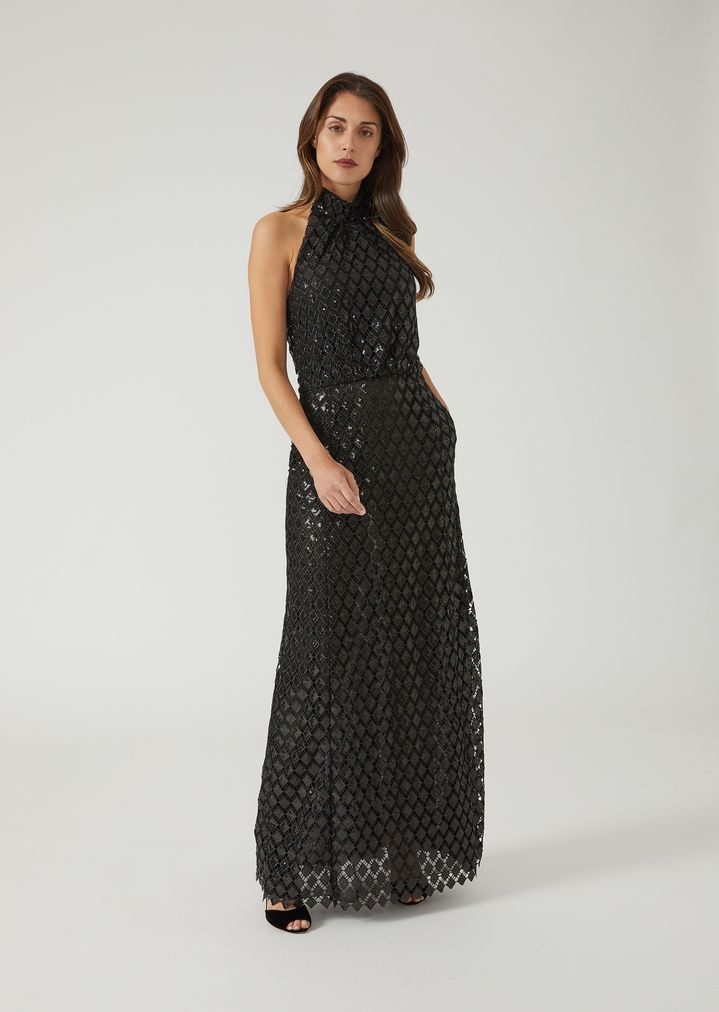 7123c56930 Long macramé dress with sequin embroidery | Woman | Emporio Armani