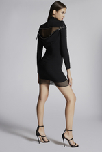 DSQUARED2 Stretch Viscose Crepe Debbie Back Zip Long Sleeves Dress Dress Woman