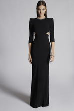 DSQUARED2 Stretch Viscose Crepe Annalore Peekaboo Gown Dress Woman