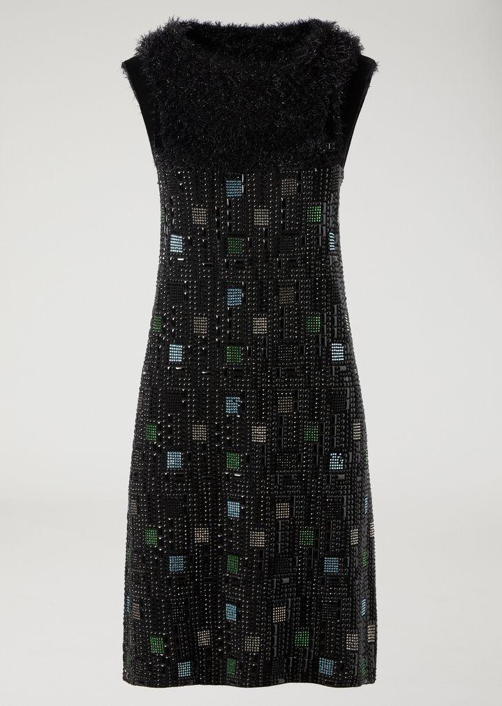 Knit Dress With Geometric Crystal Pattern Woman Emporio Armani