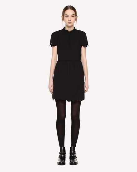 Dress in Cady Tech with scallop detail
