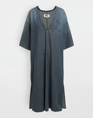 MM6 MAISON MARGIELA Oversized V-neck denim dress 3/4 length dress [*** pickupInStoreShipping_info ***] f