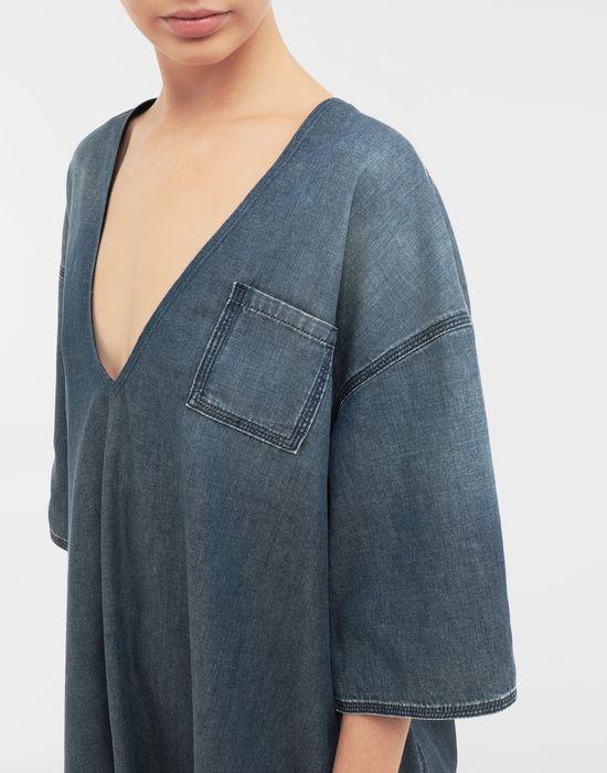 MM6 MAISON MARGIELA Oversized V-neck denim dress 3/4 length dress [*** pickupInStoreShipping_info ***] b