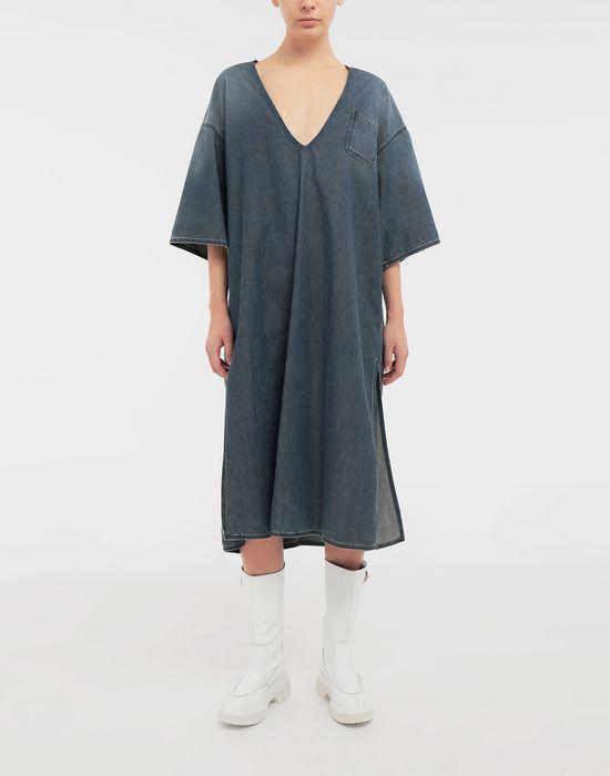 MM6 MAISON MARGIELA Oversized V-neck denim dress 3/4 length dress [*** pickupInStoreShipping_info ***] r