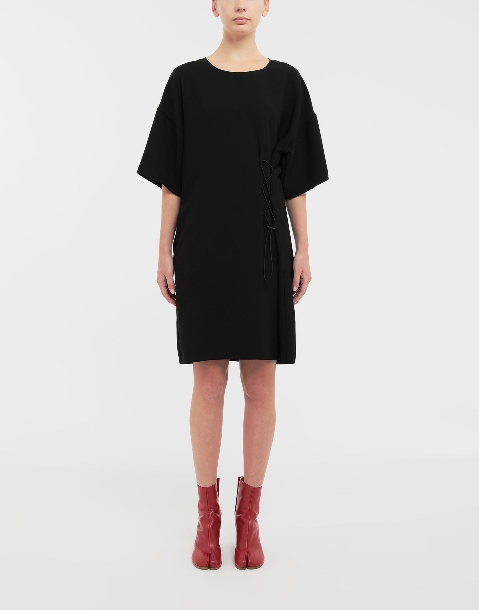 MAISON MARGIELA Lace-up jersey midi dress Short dress Woman r